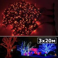 LED нить 5 нитей по 20м с контроллером красный