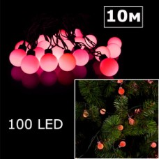 LED гирлянда шарики 10м красный