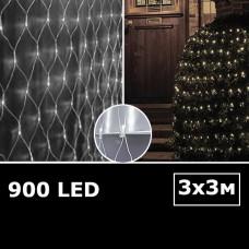 Cветодиодная сетка с одинарными светодиодами 3х3м белый
