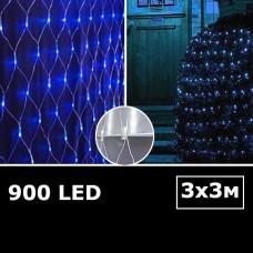 Cветодиодная сетка с одинарными светодиодами 3х3м синий