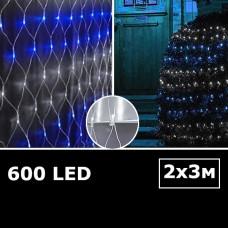 LED сетка с одинарными светодиодами 2х3м синий-белый с контроллером