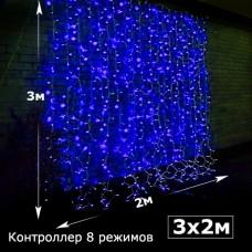 Светодиодный занавес с контроллером 2х3 синий